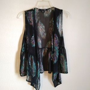 Sheer Boho Vest with Vibrant Feather Pattern